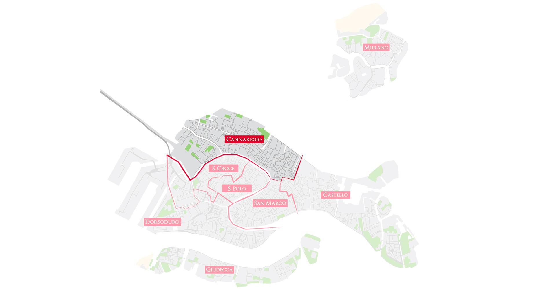 Bacaro Tour Venezia - Map sestieri -