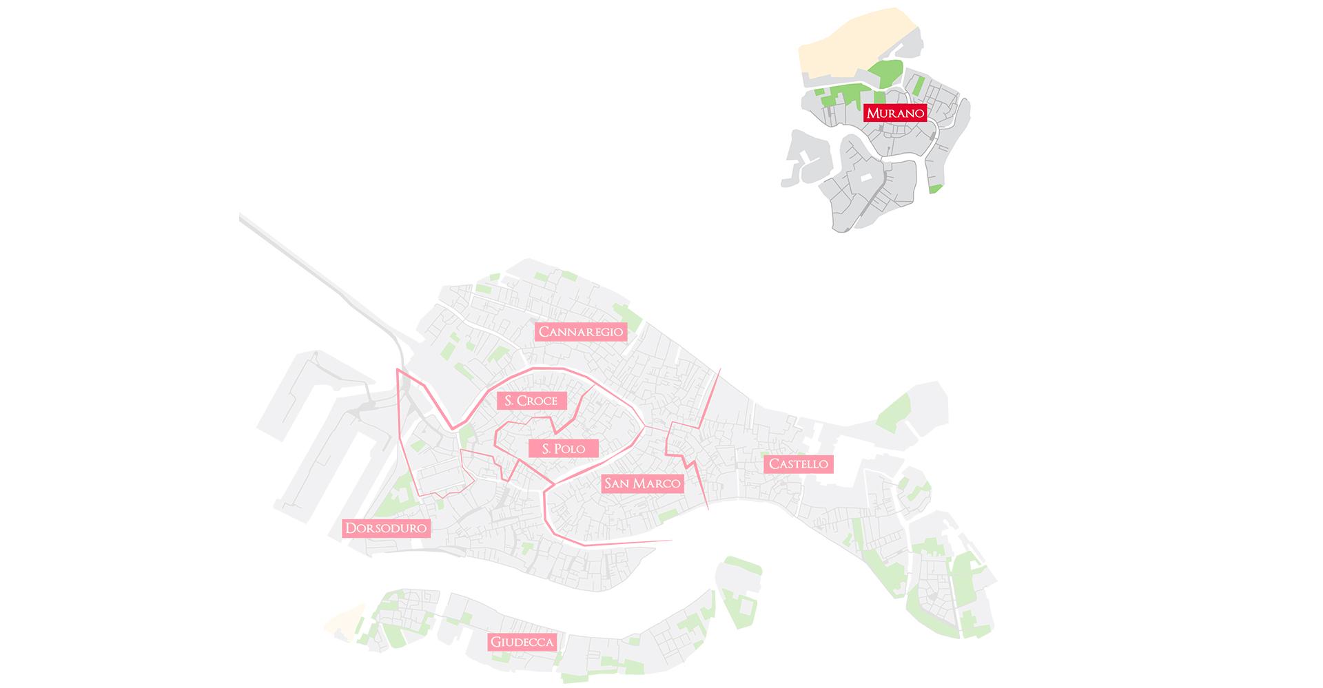 Bacaro Tour Venezia - Map sestieri - Murano