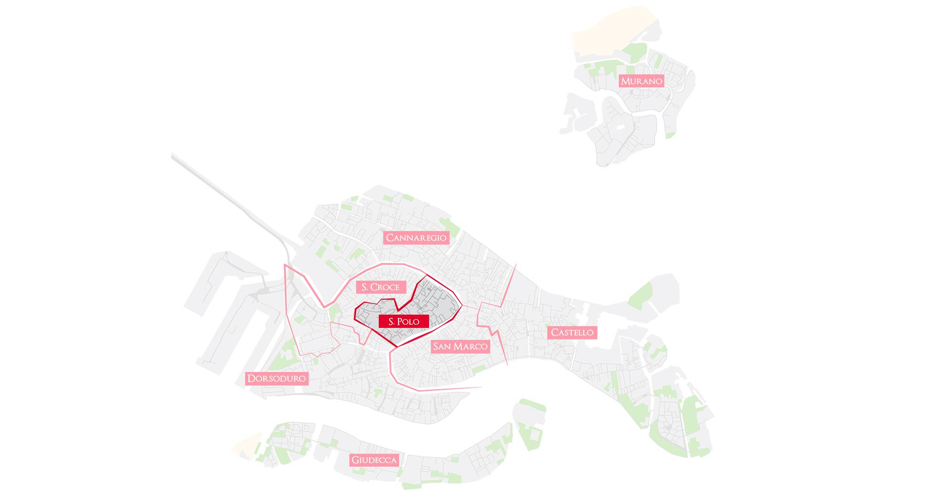Bacaro Tour Venezia - Map sestieri - San polo