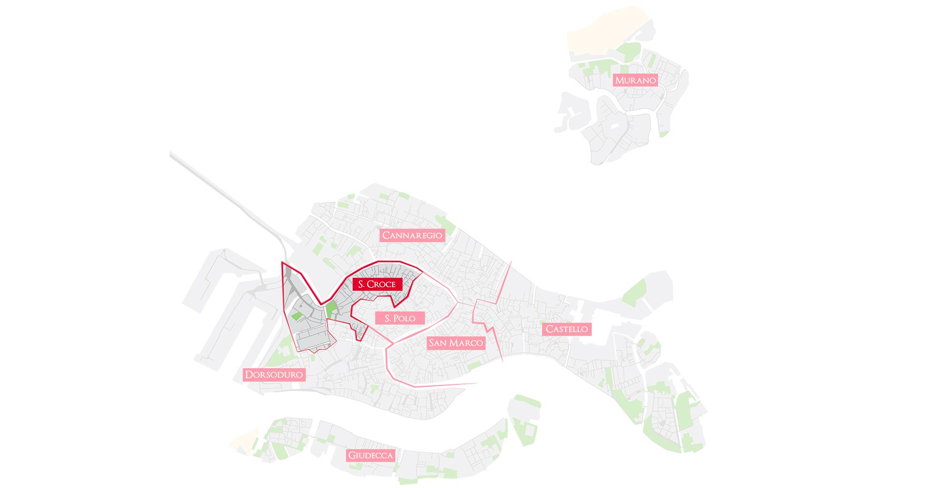 Bacaro Tour Venezia - Map sestieri - Santa Croce