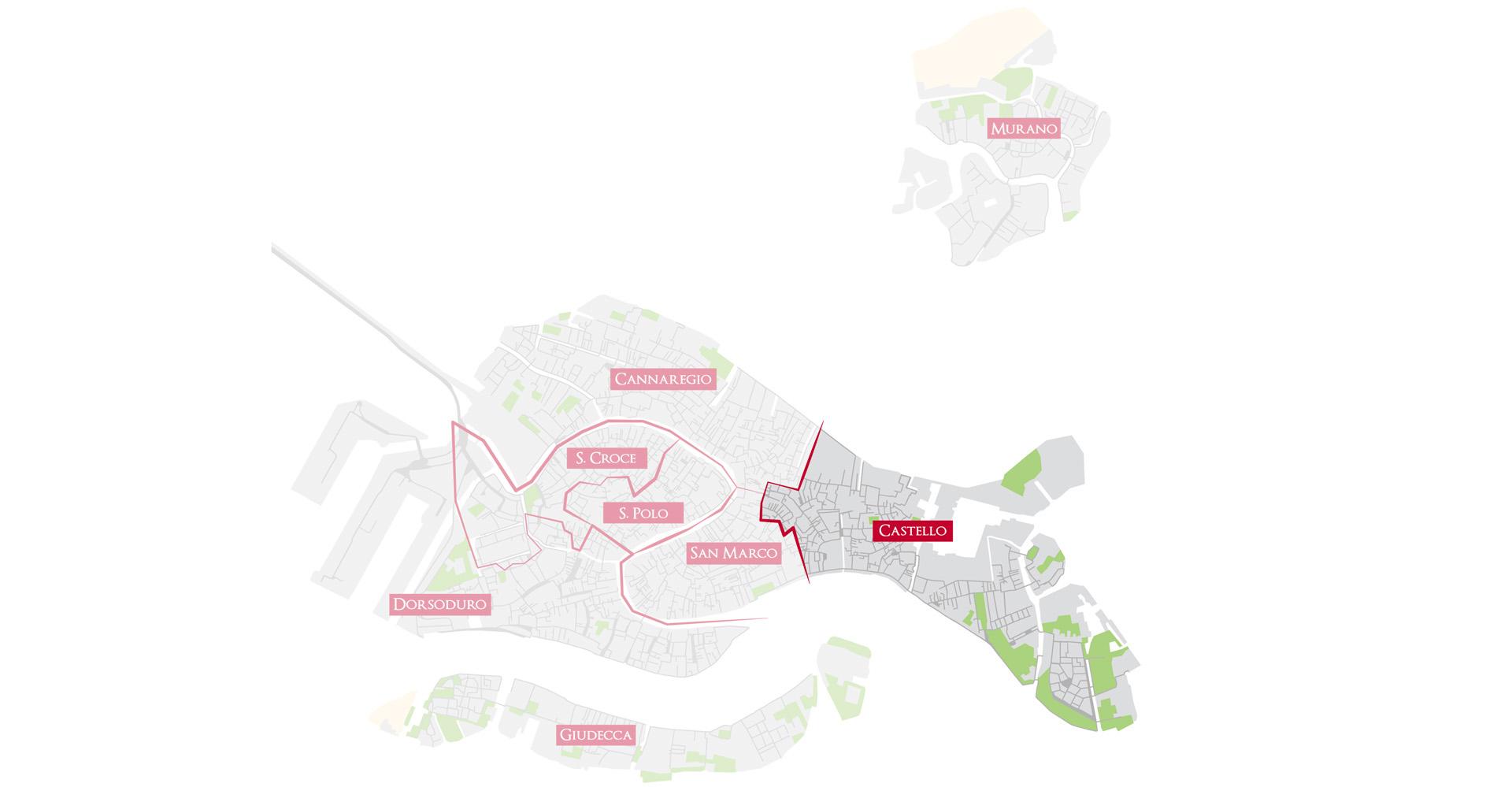 Bacaro Tour Venezia - Map sestieri - Castello